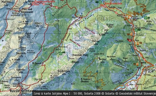 Véverica, kolektivno ime vrhov (H.Tuma) v grebenu od kote 1894 do Trentskga Pelca