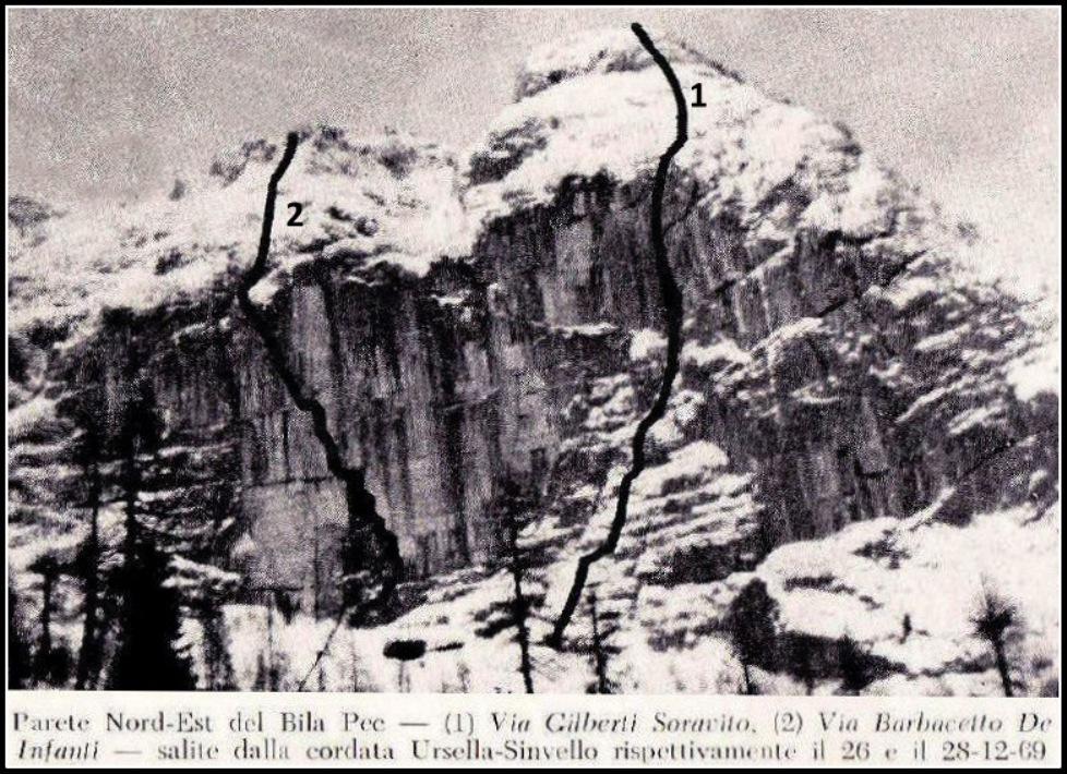 Vrisani smeri, ki sta jih Ursela in Sinuele ponovila v mrzlih zimskih dneh leta 1969
